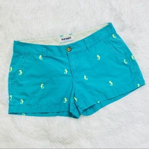 Old Navy Turquoise Shorts Yellow Seahorse Pattern